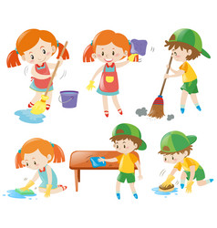 boys and girls doing chores vector image