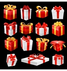 Bunch of gift boxes with ribbons vector image vector image