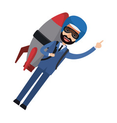 Businessman flying with jetpack startup vector