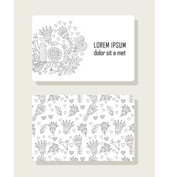 Card with hand drawn floral elements and photo vector