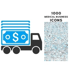 Cash lorry icon with 1000 medical business icons vector