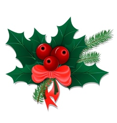 Christmas bouquet with holly leaves and berries vector image