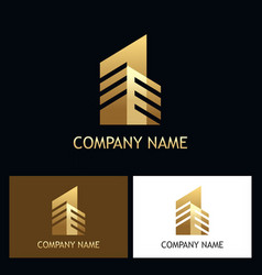 cityscape building gold logo vector image vector image