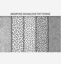 Collection of memphis seamless patterns black and vector