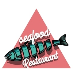 Color vintage seafood restaurant emblem vector image