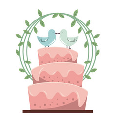 Colorful background with wedding cake and pigeons vector