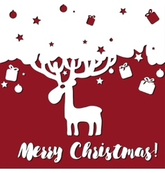 design Merry Christmas card with deer vector image vector image