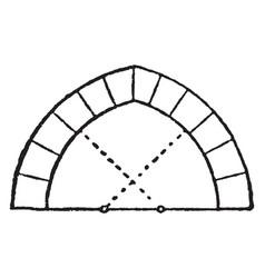 Drop arch wedge vintage engraving vector