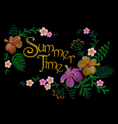 Embroidery floral patch summer exotic tropical vector