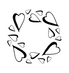 hand drawn frame of hearts vector image vector image
