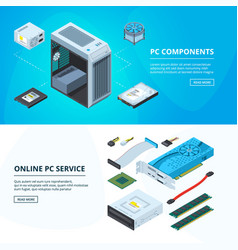 horizontal banners set with different parts of vector image vector image
