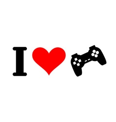 I love games Heart and gamepad Logo for players in vector image vector image