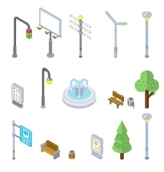 Isometric city street icons 3d urban vector image