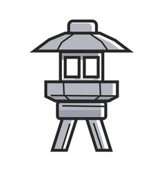 japanese street ground lamp in metal corpus vector image vector image