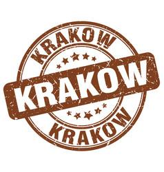 Krakow brown grunge round vintage rubber stamp vector