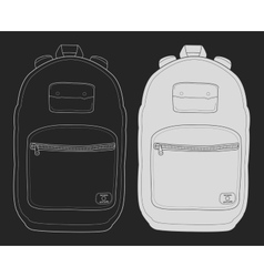 Modern urban backpack chalk on blackboard vector