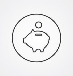 Moneybox piggy outline symbol dark on white vector