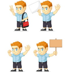 Red Head Boy Customizable Mascot 18 vector image vector image