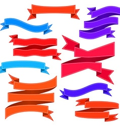 Set of bent ribbons with seam vector image