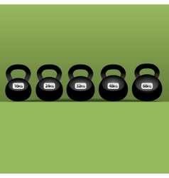 set of six black kettlebells vector image vector image