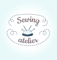 sewing logo template with needle and stitch vector image