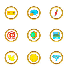 Web surfing icon set cartoon style vector