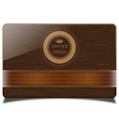 Wooden card and badge vector image
