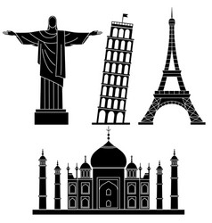 world landmarks leaning tower of pisa eiffel vector image
