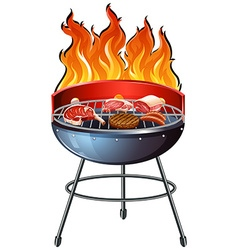 Different types of meat on the grill vector