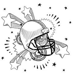 doodle pop football helmet vector image