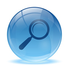 3d glass sphere and magnifying glass icon vector