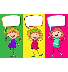 Speech bubble design with three girls vector image
