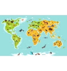 World map with wildlife animals and plants vector image