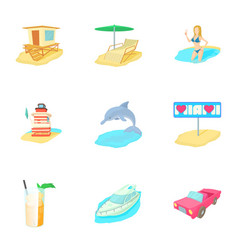 holiday in miami icons set cartoon style vector image