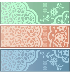 Banners with islamic ornaments vector