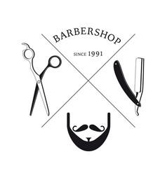 hand drawn barbershop logotype template vector image