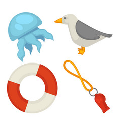 Sea themed small set of isolated cartoon vector