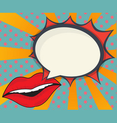 Abstract woman lips with speech bubble comic book vector