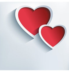 Valentine love background with two 3d hearts vector
