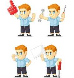 Red head boy customizable mascot 19 vector