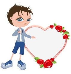 In love with boy shows heart template for vector