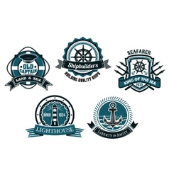 Nautical themed emblems and badges vector