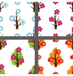 Four season pattern set vector