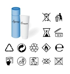 Collection of 14 symbols depicted on the packaging vector