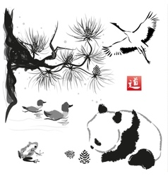 Card with cedar in the bird and panda bear vector