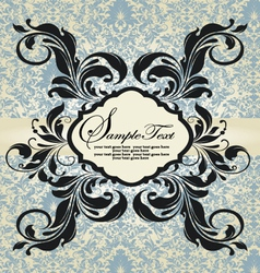 Vintage blue damask invitation vector