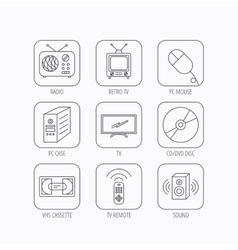 Retro tv radio and dvd disc icons vector