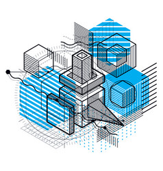 Background with abstract isometric lines and vector