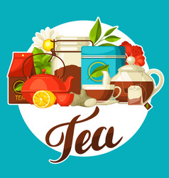 Background with tea and accessories packs and vector