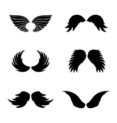 Black silhouette angel wings set feathers vector